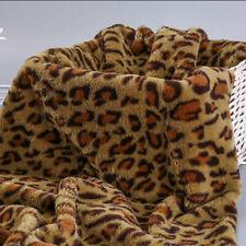 Leopard Print Faux Rabbit Fur Fabric Scarf Coat DIY Cloth Cushion Sew Craft Soft