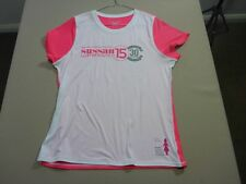 057 WOMENS EX-COND CHAMPION WHT / PINK SUSSAN FUN RUN 15 S/S T-SHIRT LRG $70 RRP