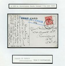 GIBRALTAR 1918 WWI postcard to Rhode Island superb blue PASSED BY CENSOR initial