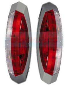 PAIR OF HELLA RED AND WHITE CLEAR SIDE END MARKER LAMPS LIGHTS CARAVAN MOTORHOME