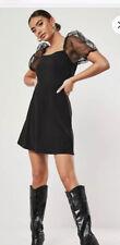 Influence Black Dress Size 10 Organza Puff Sleeve Skater Dress New EE80
