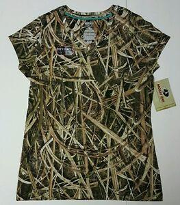 Mossy Oak Blades Women's Soft Touch Camo Short Sleeve V-neck T-Shirts: S-2XL