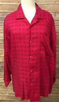 Esprit Sport Women Pink Black Button Top Medium  Geometric Vintage Long Sleeve