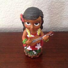 """Hawaiian Hawaii Mini Dashboard Doll Keiki Girl with Ukulele 4"""" tall"""