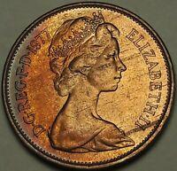 1977 Great Britain 2 New Pence BU DARK UNIQUE COLOR TONED GEM UNC (SS)