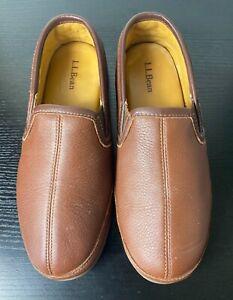 LL Bean men's brown leather padded Elkhide house slippers size 10 M 272346