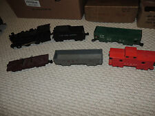 Vintage Marx Train Locomotive and Tender w/ Four Cars Maroon Erie Truck Flat