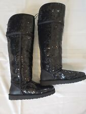 NEW UGG AUSTRALIA Over the Knee Bailey Sparkles Black Sequin Boots NEW Size 11