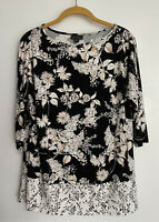 J. Jill Wearever Collection Black White Floral Top Tunic XS 3/4 Sleeve Packable