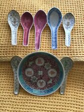 More details for vintage shou famille rose jingdezhen rice plate and 7 spoons 1950s
