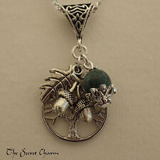 Celtic Tree of Life Charm Pendant, Green Jasper Wiccan Necklace, Yggdrasil Pagan