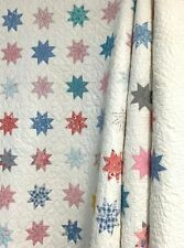 Small Scale! c 1930s Feedsack Stars QUILT Vintage Farmhouse PA