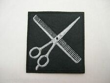EMBROIDERED DESIGN FOR JACKET SMOCK or PATCH COMB SCISSORS STYLIST BARBER SHEARS