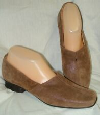 "SESTO MEUCCI WOMAN BROWN 8.5 M BROWN SUEDE SLIP ON LOAFER SHOE 1/2"" HEEL ITALY"