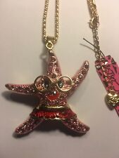 Betsey Johnson PINK STARFISH W-FACE AND GLASSES necklace-BJ14622
