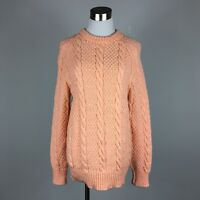 Handmade Womens Pullover Sweater M Peach Cableknit Long Sleeve Crew Neck