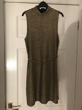 Topshop High Collar Gold and Black Glitter Mini Dress - size 12