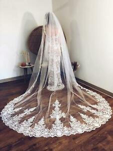 3 4 5 metres Real Photos Lace Wedding Bridal Veils White Ivory Veils Cathedral