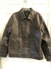 Mens Large Brown Leather Coat Jacket