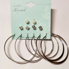 6 Pair Chic Women Gold Silver Metal Big Circle Smooth Large Ring Hoop Earrings