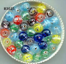 Vintage Czech Silver Foil Round Glass Beads, 10mm, Hand Made B3025
