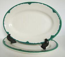 Shenango Restaurant Ware Green Trim Set of 2 Oval Dinner Plates