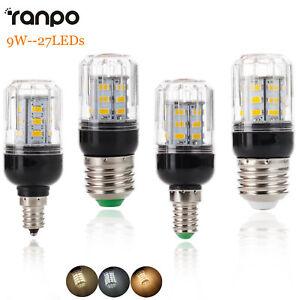 E27 E12 E26 E14 9W 27LEDs Lamp LED Corn Bulb Light 5730 SMD 110V 220V DC 12V 24V