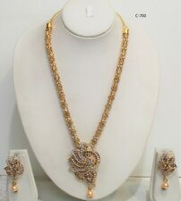 Indian Gold Plated Necklace Set With Earring Bridal Bollywood Long Necklace New
