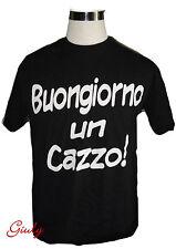 T-shirt maglia simpatica BUONGIORNO UN CAZZO maglietta spiritosa divertente nero