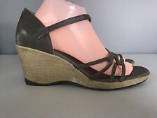 Teva Gray Strappy Leather Sandals Wedge Heel Womens Size 9.5