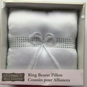 Celebrate It - Wedding - Ring Bearer White Satin Pillow - Silver Rhinestones