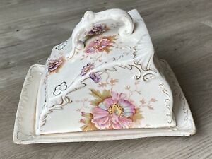 Large Antique China Cheese Dish & Cover with Pretty Floral & Gilt Detail