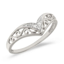 10K White Gold Filigree Band Diamond Chevron Ring (Size 7)