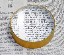 "MAGNIFIER PAPERWEIGHT 5X DOMED GLASS 2-3/8"" / 60mm ROUND CONVEX With METAL FRAME"