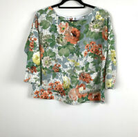 HD In Paris Anthropologie Floral 3/4 Sleeve Blouse Top Size Small