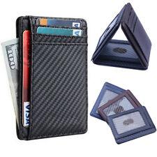 Fibra de Carbono Delgado Cartera Soporte Tarjeta Funda Bolsillo De Cuero RFID Bloque clip de dinero