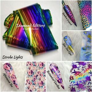 Nail Art Transfer Foil 1m Flower Holographic Animal Print Marble Floral Geode