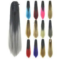 Women Gradient Colorful Long Straight Ponytail Claw Clip in Hair Extensions 60cm
