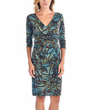 Teal & Brown Abstract Surplice Print Dress Marcelle Margaux Size M Med. New NWT