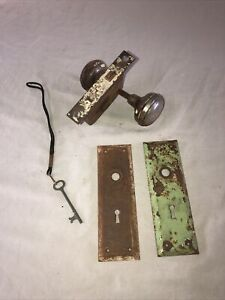 Vintage Skeleton Key Mortise Door Lock With Working Key Cover Plate Knobs Yale