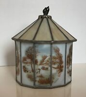 Currier & Ives 12 Panel Slag Glass Light Fixture Hanging Ceiling Lamp Vtg Rare