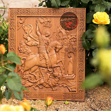 """42"""" Saint George and the Dragon 3D Art Orthodox Wood Carved Icon - 32"""" x 27"""""""