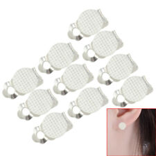10pcs-10mm Metal Round Flat Pad Clip on Earring Blank Base Findings Silver Tone