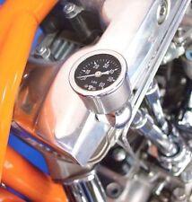 Chrome Rocker Box Shaft End Liquid Oil Pressure Gauge Harley Ironhead Shovelhead