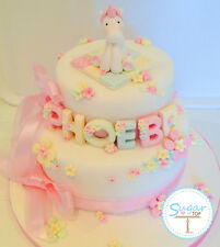 UNICORN HORSE CAKE DECORATION TOPPER BIRTHDAY CHRISTENING AGE NAME AND FLOWERS