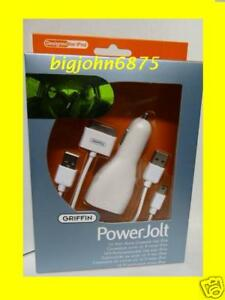 Griffin PowerJolt Auto Charger/Adapter 4 iPod White