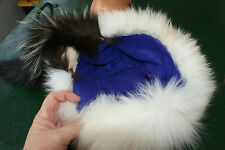Gorgeous Skunk hat trimmed in white fox fur fits med. - large head purple lining