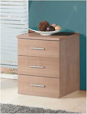 Genoa 3 Drawers Bedside Lamp Table Unit Bedroom Furniture Nocce Oak Effect NEW