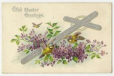 Vintage Tuck Easter Postcard Yellow Blue Colored Birds Silver Cross Violets 1909