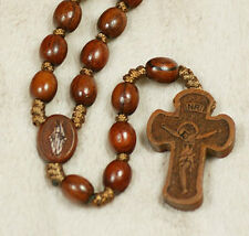 Catholic Fragrance Red Sandalwood Rosewood Beads Rosary Cross Crucifix NECKLACE
